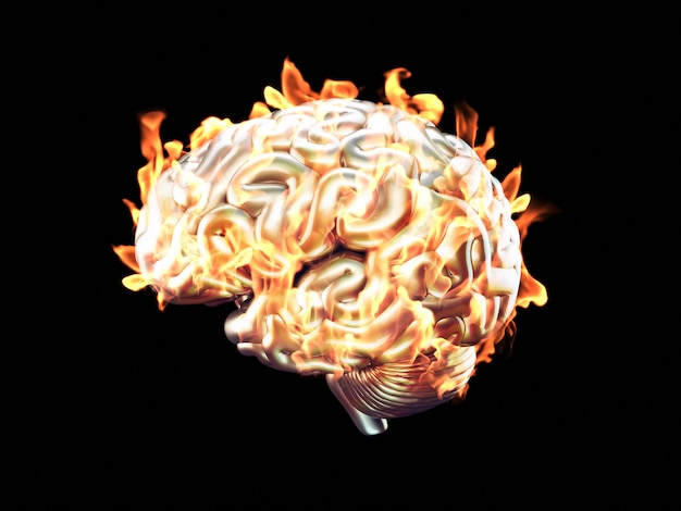 Burning brain Premium Photo