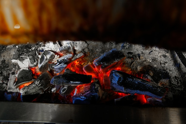 Burning charcoals under the frying meat oven side view Free Photo