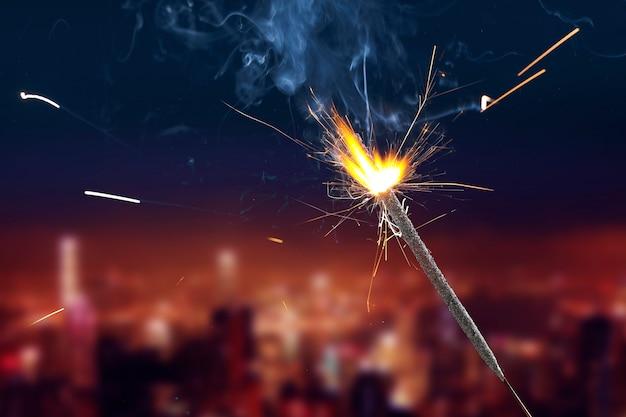 The burning sparklers diwali festival. celebrating diwali in india. Premium Photo