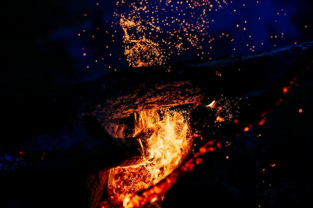 Горящий лес ночью с пламенем и искрами огня Premium Фотографии
