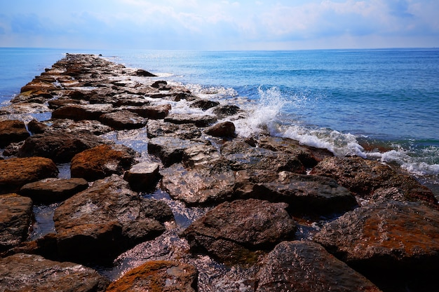 Burriana breakwater in castellon of spain Premium Photo