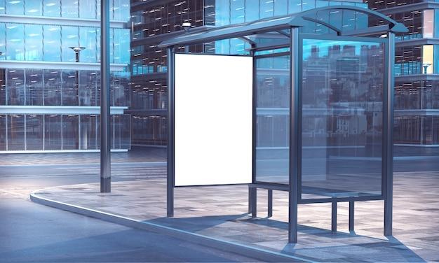 Bus stop 3d rendering Premium Photo