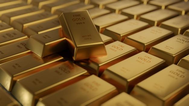 行のクローズアップの光沢のあるゴールドバーの配置。 busienssゴールドの未来と金融の概念。世界経済と為替。マネートレードと安全な避難所の市場、3dレンダリング Premium写真