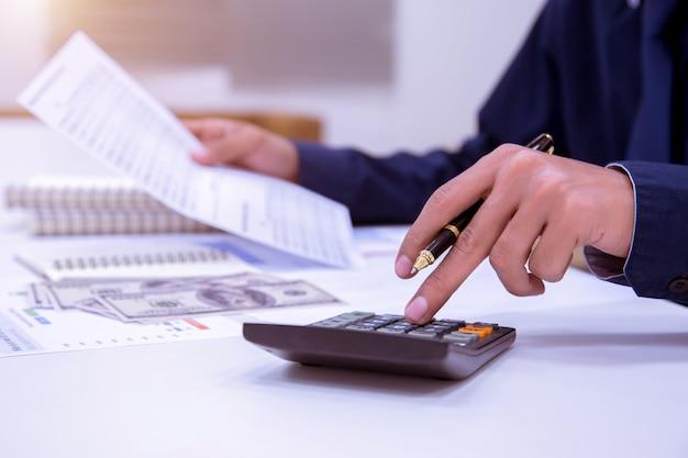 Business accountants or bankers perform savings . Premium Photo
