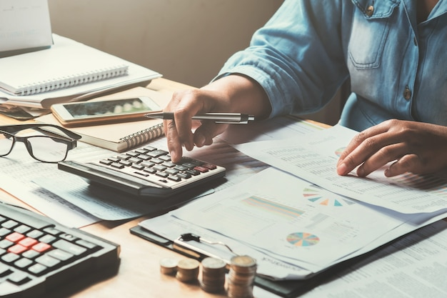 Business accounting in office concept Premium Photo