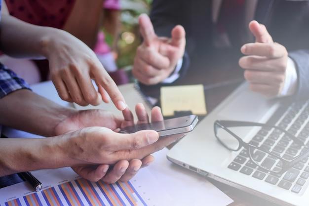 Business adviser analyzing financial figures denoting the progress in work Premium Photo