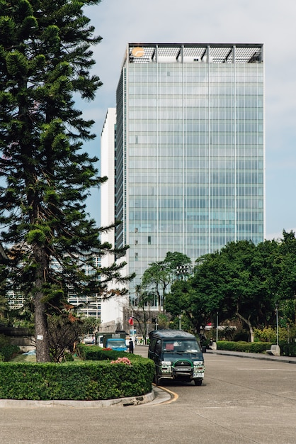 Business area with modern high rise building the view from the area Premium Photo