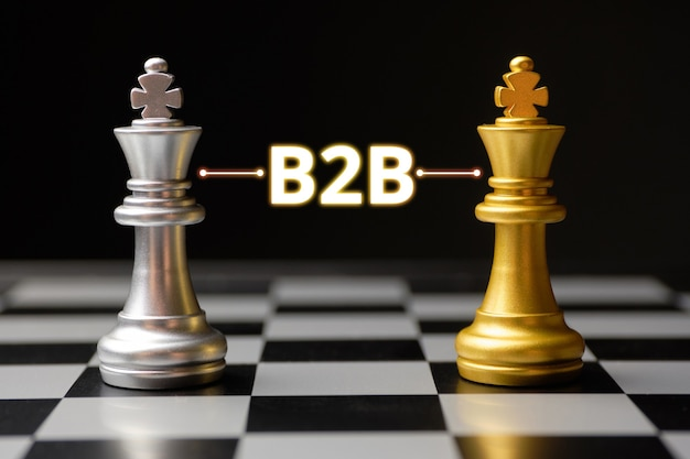 Business to business concept with chess Premium Photo