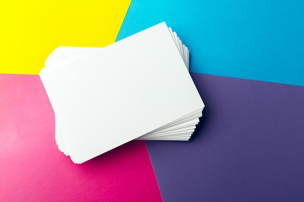 Business card blank over colorful abstract background. Premium Photo