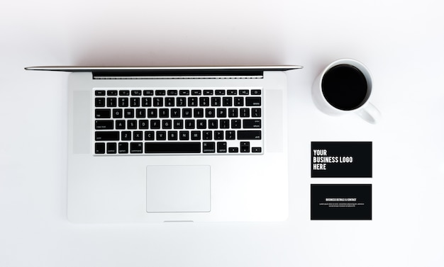 Business card mockup macbook photo premium download business card mockup macbook premium photo reheart Choice Image