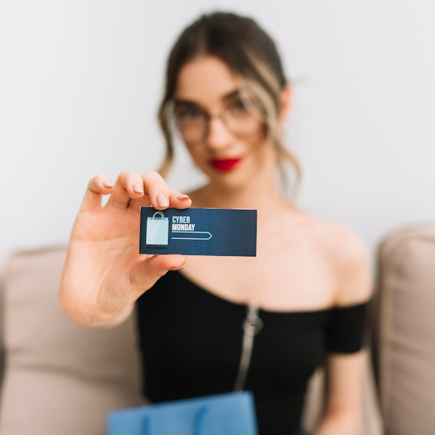 Business card with cyber monday design Free Photo