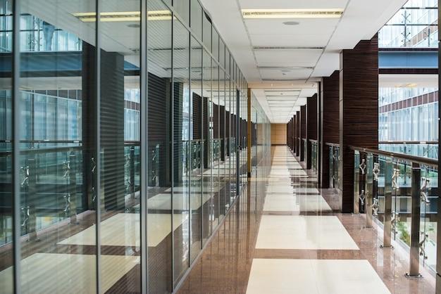 Business center corridor interior glass Premium Photo