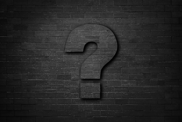 Business Concept Of Question Mark On Black Brick Wall