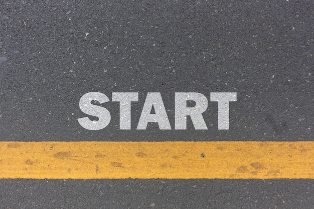 Business concept. start line on the road Premium Photo