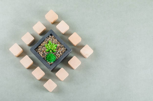 Concetto di affari con blocchi di legno, pianta verde. Foto Gratuite