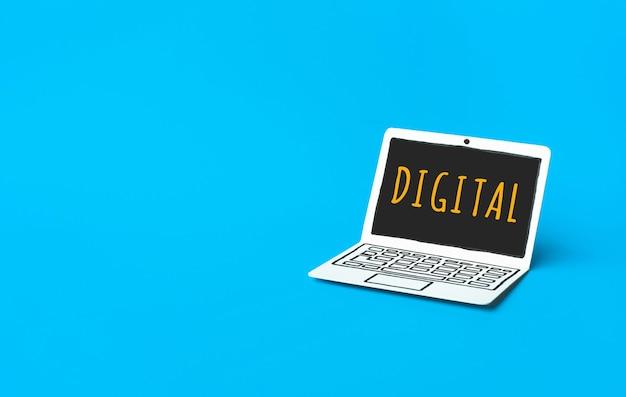 종이 모형 노트북에 텍스트가있는 비즈니스 디지털 마케팅 개념 프리미엄 사진
