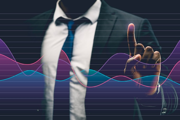 Business graph in hologram made by man Premium Photo