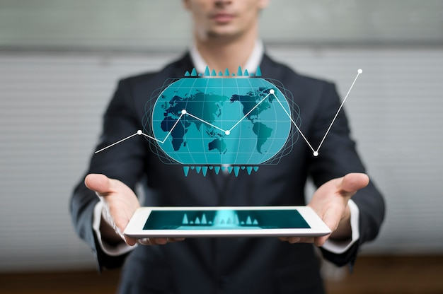 Business graph in hologram showed by man Premium Photo