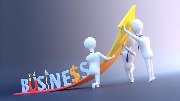 Business growth concept with creative business text and business people. Premium Photo