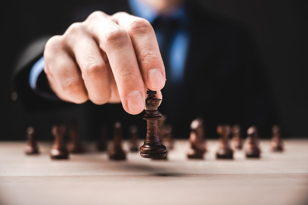 Business leadership, teamwork power and confidence concept with  chess Premium Photo