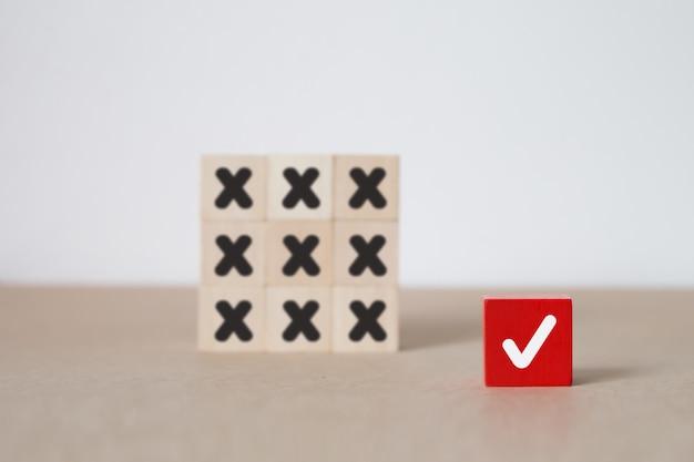 Business and leadership wood block concept. Premium Photo