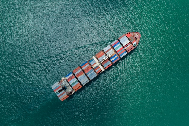 Business logistics containers cargo ship-fright and import export  international open sea Premium Photo