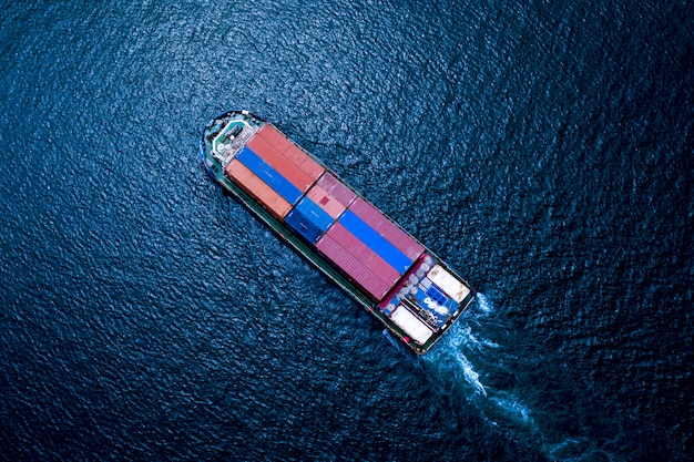 Business logistics shipping cargo containers transportation the sea  import and export international Premium Photo