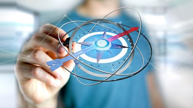 Business man holding a navigation compass - 3d rendered Premium Photo