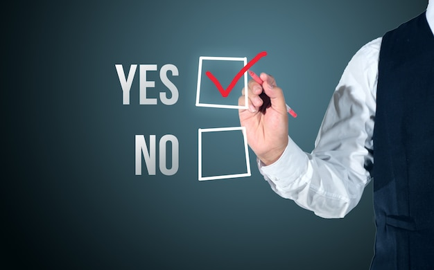 Business man select yes or no evaluation Premium Photo