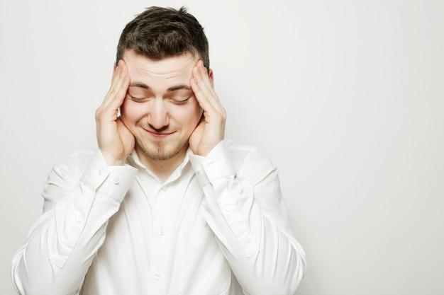 Business man  with a headache or problem Premium Photo