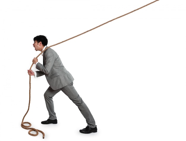 Business man with a rope Free Photo