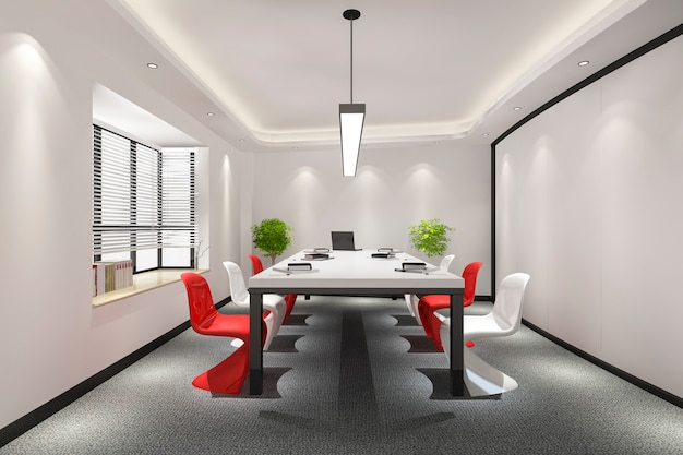 Business meeting room on high rise office building with colorful decor furnture Free Photo