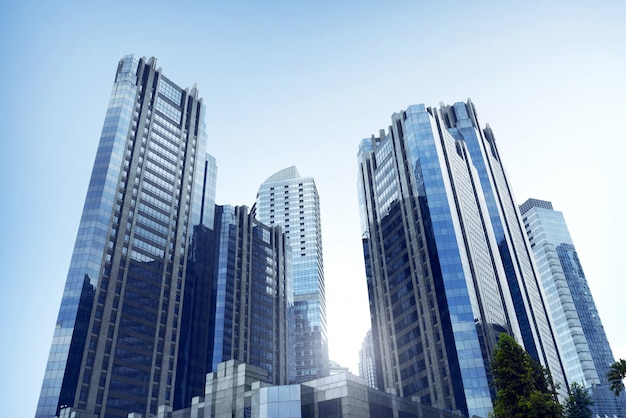 Business office architecture with high rise building in commercial city Premium Photo