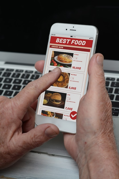 Business old man with phone ordering take away food Premium Photo