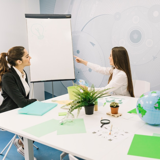 Business partner looking at her manager pointing towards light bulb on flipchart Free Photo