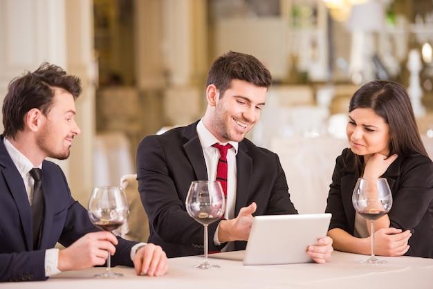 Business partners are meeting in restaurant. Premium Photo