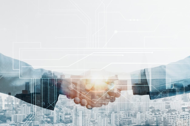 Business partners handshake global corporate with technology concept Free Photo
