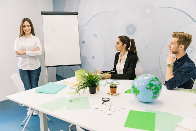Business partners looking at female manager standing with folded hands near flipchart Free Photo