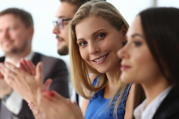 Business people applauding during seminar in office Premium Photo