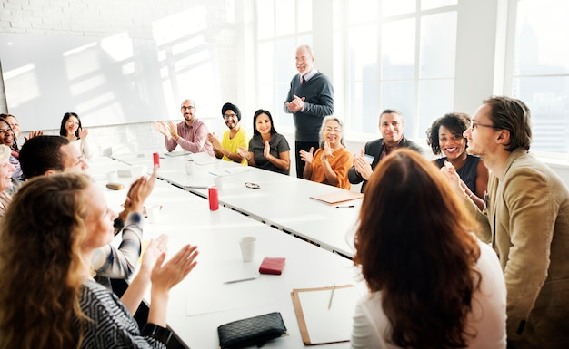 Business people are having a discussion Premium Photo