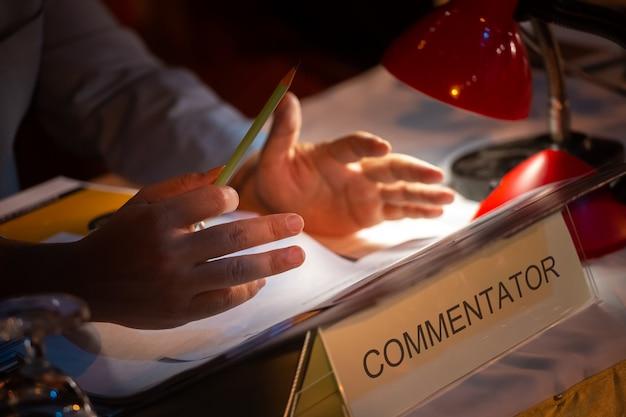 Business people or commentator in seminar room Premium Photo