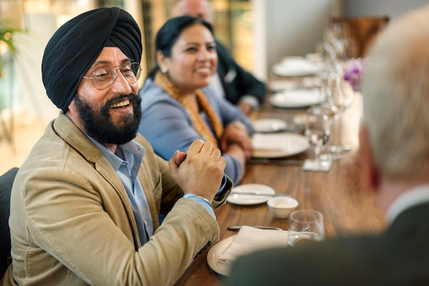 Business people dining together concept Premium Photo