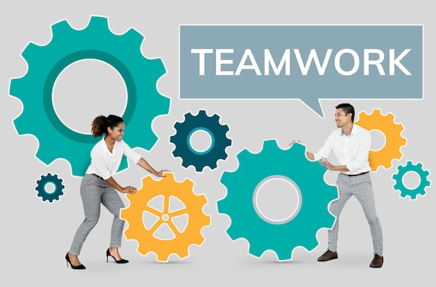 Business people focusing on teamwork Free Photo