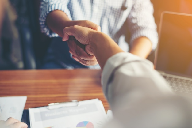 Business People Handshake Greeting Deal at work. Free Photo