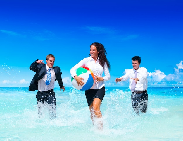 Business people having fun on vacation. Premium Photo