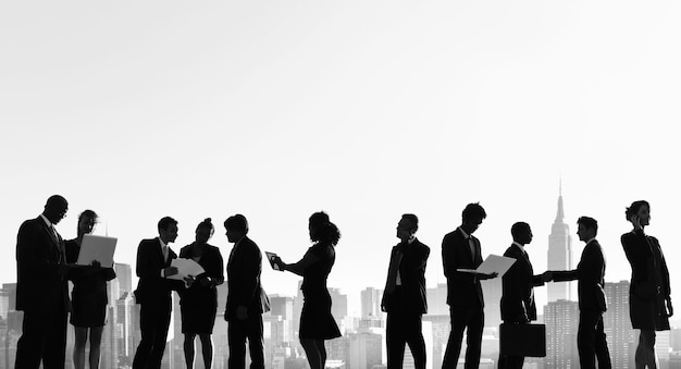 Business people new york outdoor meeting silhouette concept Premium Photo