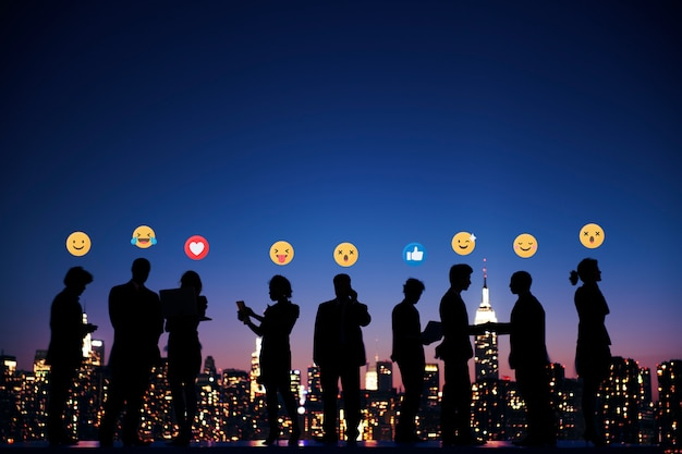 Business people with emojis Premium Photo
