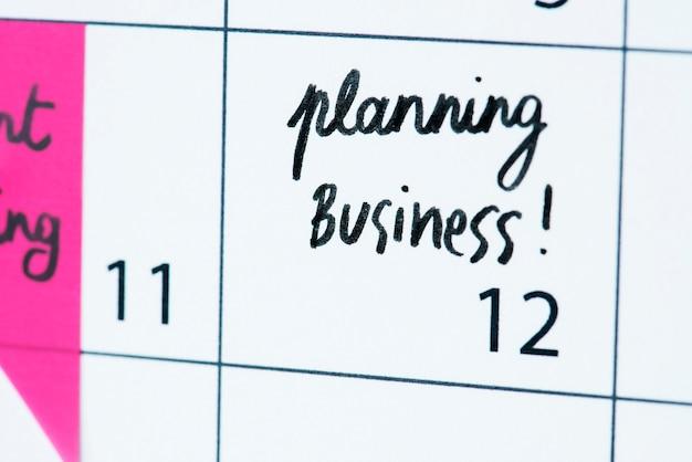 Business planning calendar reminder Free Photo