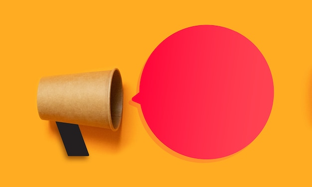 Business promotion, advertising concept with a mouthpiece and empty space for text Premium Photo