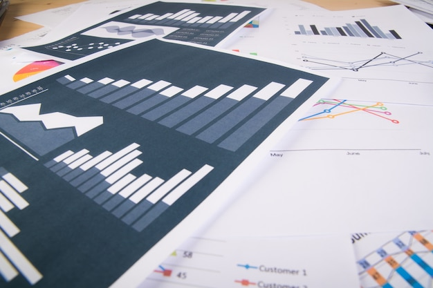 Business report. graphs and charts.business concept. Free Photo